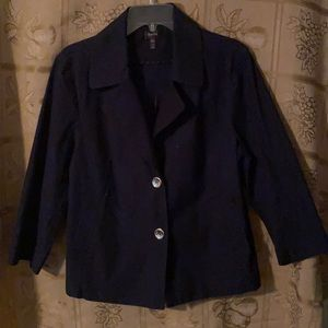 Navy 3/4 sleeeved jacket w/silver-colored buttons